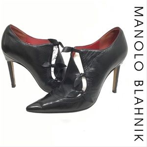 Manolo Blahnik Black Leather Cut Out Booties